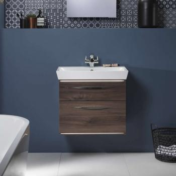 Roper Rhodes Scheme 600mm Smoked Walnut Wall Mounted Vanity Unit & Basin
