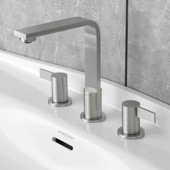 Victoria + Albert Soriano 9 Brushed Steel 3 Tap Hole Basin Mixer