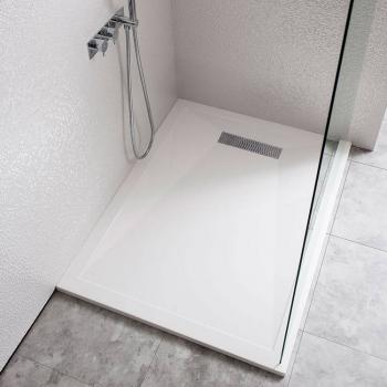 Simpsons 1000 x 800mm Rectangle 25mm Stone Resin Shower Tray & Linear Waste