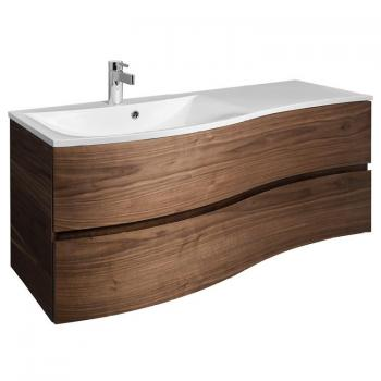 Bauhaus Svelte 120 American Walnut Vanity Unit & Ice White Glass Basin