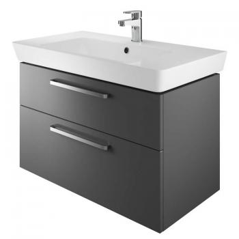 The White Space Scene 800mm Gloss Charcoal Wall Hung Vanity Unit & Basin