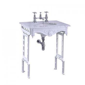 Burlington Sophia Georgian Marble Basin With White Aluminium Wash Stand