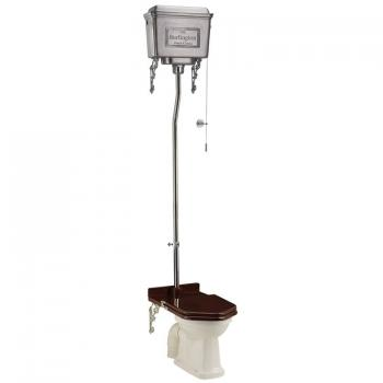 Burlington High Level Toilet With Brushed Aluminium Cistern