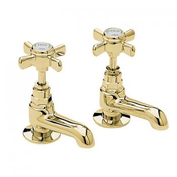 Heritage Dawlish Vintage Gold Short Nose Basin Pillar Taps