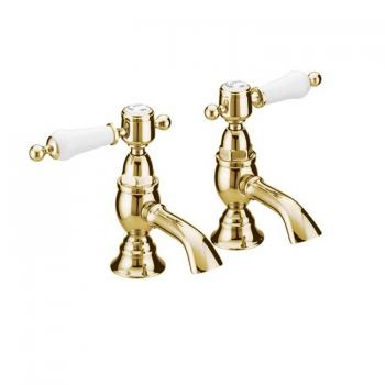 Heritage Glastonbury Vintage Gold Basin Pillar Taps