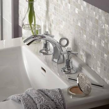 Heritage Gracechurch Mother Of Pearl 3 Tap Hole Basin Mixer