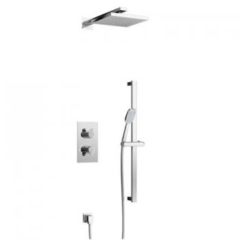 Britton Concealed Dual Outlet Thermostatic Shower Valve Kit With 2 Controls