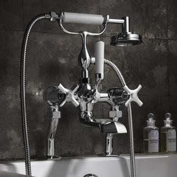 Crosswater Waldorf Chrome Crosshead Bath Shower Mixer With Kit