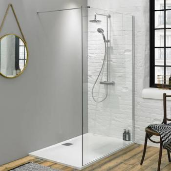 Walk In Shower Wetroom Glass Panel - Size: 1100mm