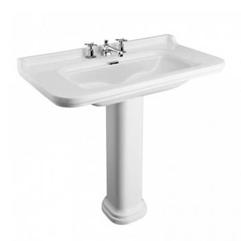 Bauhaus Waldorf 100 Three Tap Hole Basin With Pedestal