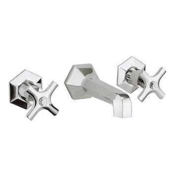 Crosswater Waldorf Chrome Lever Wall Mounted Basin 3 Hole Set