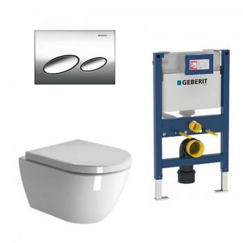 Zero Wall Hung Toilet & Seat With Geberit 820mm Cistern Frame & Flush Plate