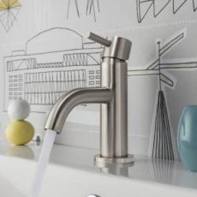 Brushed Stainless Steel Basin Taps
